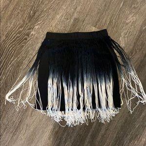 H&M divided fringe ombré mini skirt sz 4